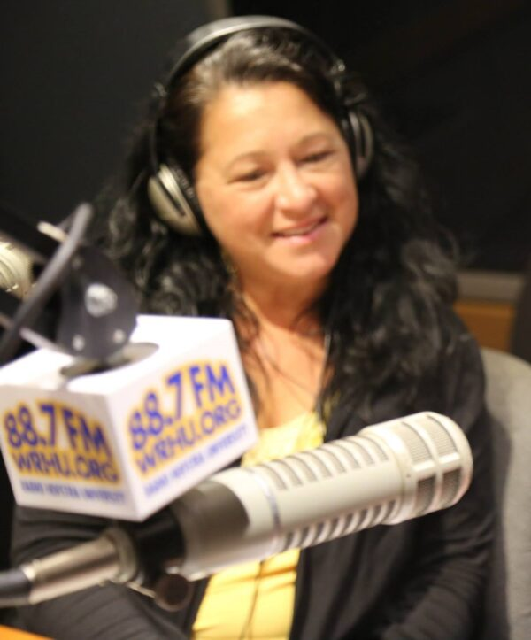 Paula at Mic in studio