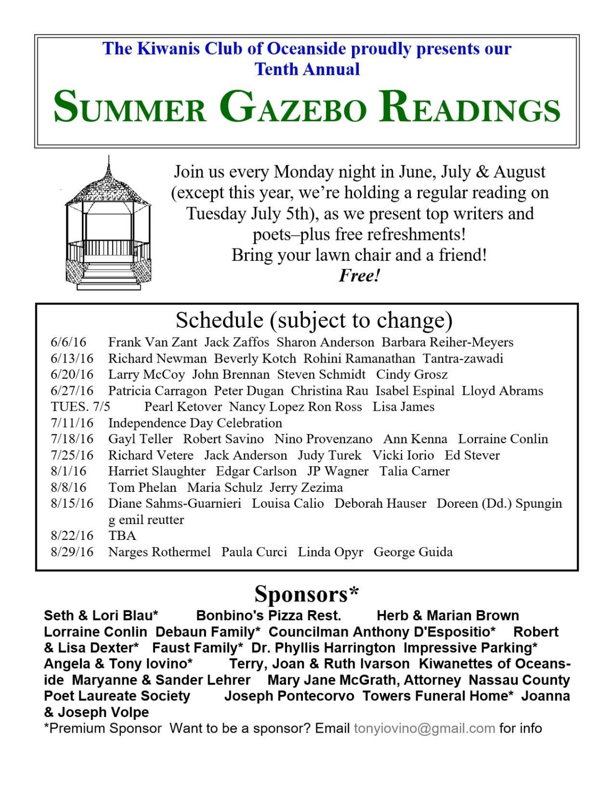 Summer Gazebo Readings